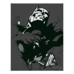 Plantilla negra y blanca de Batman de la pintada Poster