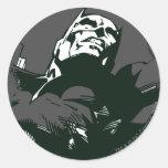 Plantilla negra y blanca de Batman de la pintada Etiquetas Redondas