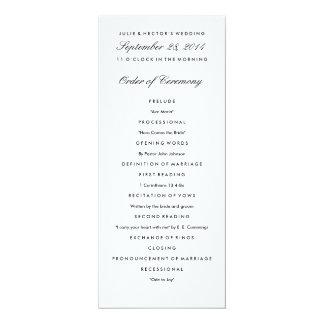 Plantilla negra y blanca del programa del boda invitación 10,1 x 23,5 cm