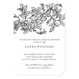 Plantilla nupcial color de rosa floral de la invitación 12,7 x 17,8 cm