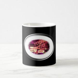 Plantilla oval de cristal del marco tazas de café