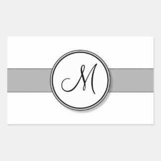Plantilla partida del sello del monograma del pegatina rectangular