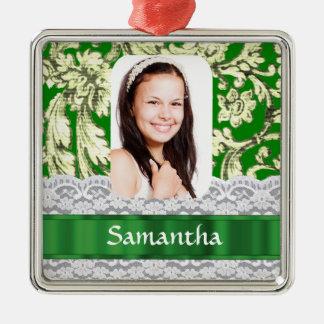 Plantilla personalizada cordón verde de la foto adorno cuadrado plateado