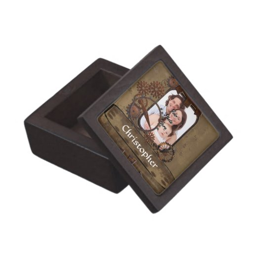 Plantilla personalizada de la foto del steampunk caja de recuerdo de calidad