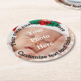 Plantilla personalizada del texto y de la foto posavasos de cartón redondo