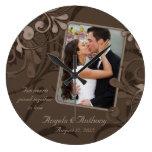 Plantilla personalizada floral de la foto de Brown Relojes