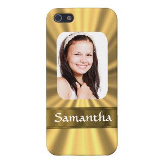 Plantilla personalizada mirada de la foto del oro iPhone 5 protector