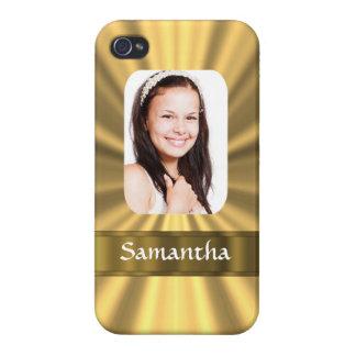 Plantilla personalizada mirada de la foto del oro iPhone 4 fundas