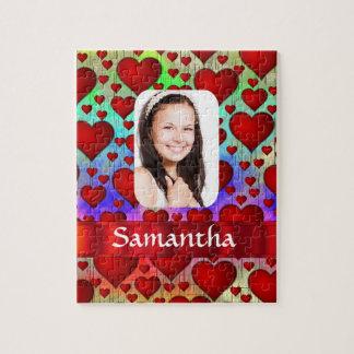 Plantilla personalizada modelo rojo de la foto del rompecabeza