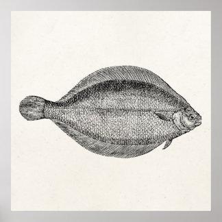 Plantilla personalizada pescados de la platija de impresiones
