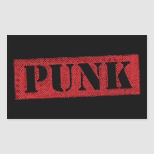 Plantilla punky - rojo/negro pegatina rectangular