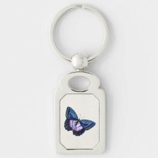 Plantilla púrpura azul marino 1896 de la mariposa llavero plateado rectangular