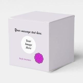 Plantilla púrpura de la cinta de la flor caja para regalos