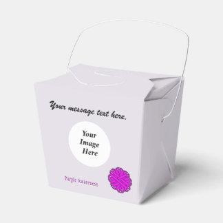Plantilla púrpura de la cinta de la flor cajas para detalles de boda