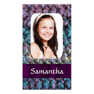 Plantilla púrpura de la foto de las lanas tarjetas de visita