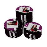 Plantilla púrpura de la foto del lunar fichas de póquer