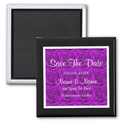 Plantilla púrpura de los inviations de los rosas - iman de nevera