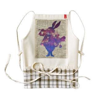 Plantilla púrpura del conejo de Herald sobre la Delantal Zazzle HEART