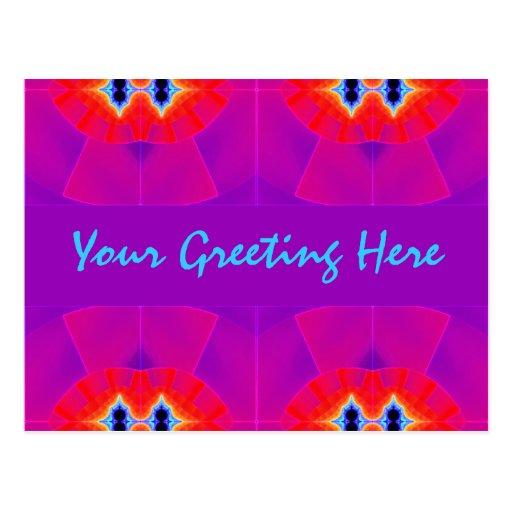 Plantilla púrpura roja del fractal tarjetas postales
