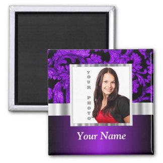 Plantilla púrpura y negra de la foto del damasco iman para frigorífico