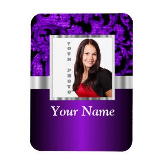 Plantilla púrpura y negra de la foto del damasco iman