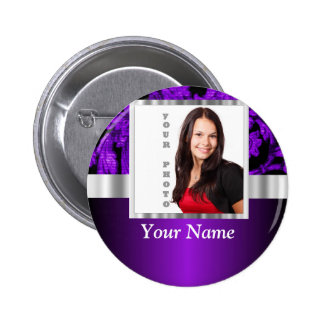 Plantilla púrpura y negra de la foto del damasco pin