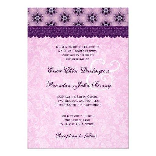 Plantilla púrpura y rosada V7 del boda del monogra Comunicados