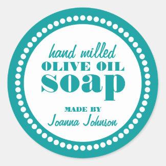 Plantilla redonda de la etiqueta del jabón del