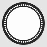 Plantilla redonda del marco del punto en negro etiqueta redonda