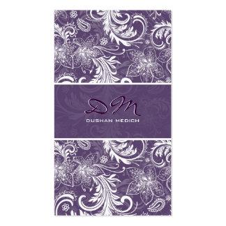 Plantilla retra blanca y púrpura del estampado de  tarjetas de visita