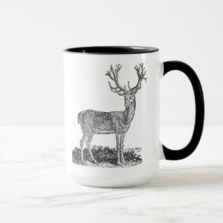 Plantilla retra de las astas de los ciervos del taza