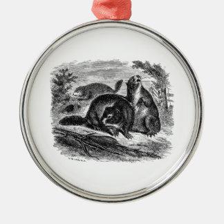 Plantilla retra de las marmotas de la marmota de adorno navideño redondo de metal