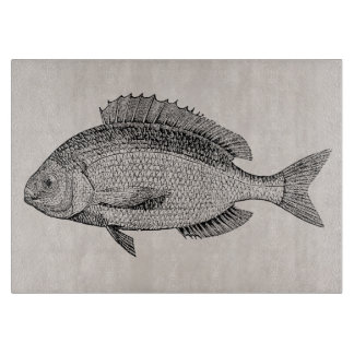 Plantilla retra de los pescados de los pescados de tabla para cortar