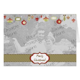 Plantilla retra del marco de la foto de los tarjeta de felicitación