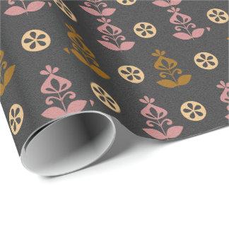 Plantilla retra del papel de embalaje de la flor papel de regalo