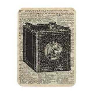 Plantilla retra vieja de la cámara del cubo sobre iman rectangular