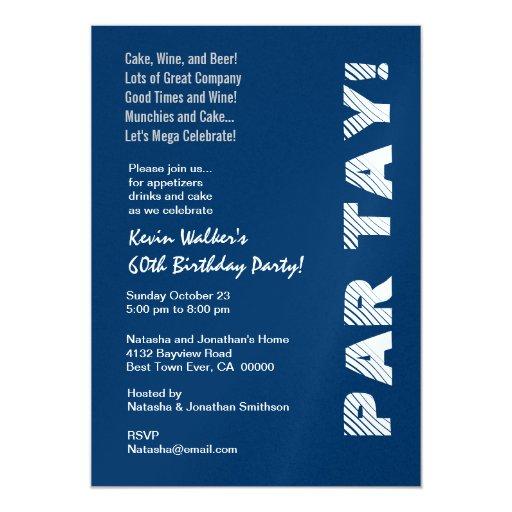 Plantilla roja blanca de los 60.os azules marinos invitación 12,7 x 17,8 cm