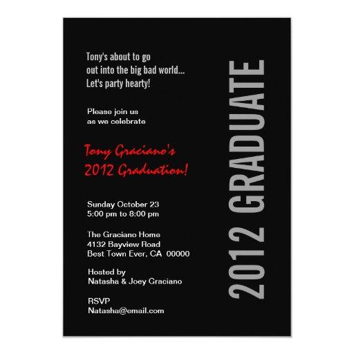 """Plantilla roja blanca negra 2012 de la fiesta de invitación 5"""" x 7"""""""