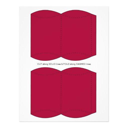 Plantilla roja de la caja de soplo de la almohada tarjetas informativas