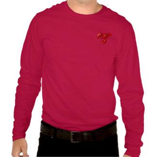 Plantilla roja de la camiseta de la manga larga playeras