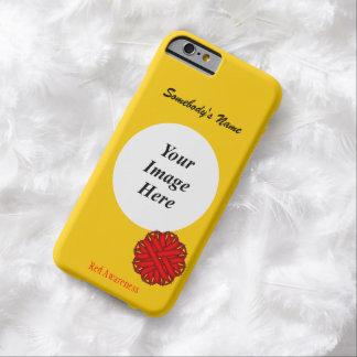 Plantilla roja de la cinta de la flor funda de iPhone 6 barely there