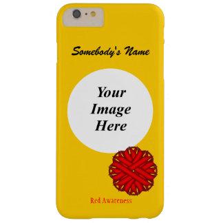 Plantilla roja de la cinta de la flor funda de iPhone 6 plus barely there