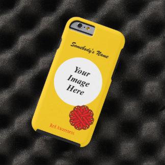 Plantilla roja de la cinta de la flor funda de iPhone 6 tough