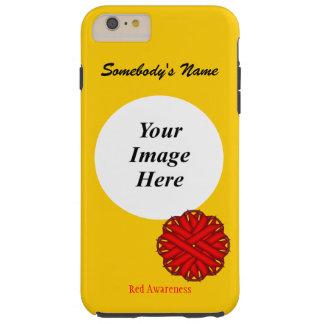 Plantilla roja de la cinta de la flor funda de iPhone 6 plus tough