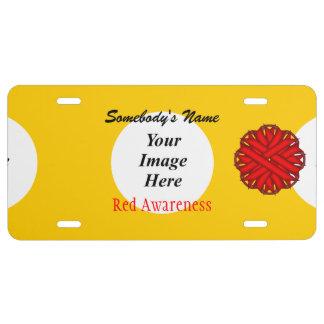 Plantilla roja de la cinta de la flor placa de matrícula