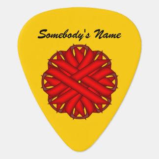Plantilla roja de la cinta de la flor púa de guitarra