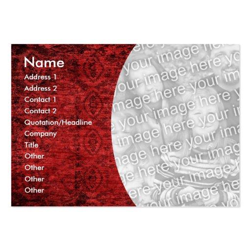 Plantilla roja de la foto del recorte tarjetas de visita grandes