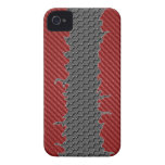 plantilla roja de la grieta 3D del carbono del cas iPhone 4 Protectores