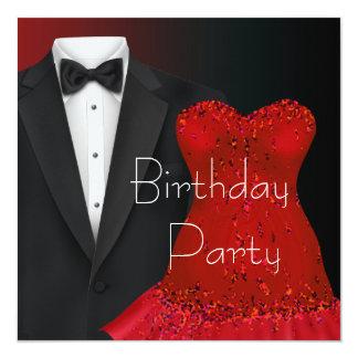 Plantilla roja de la invitación del fiesta del invitación 13,3 cm x 13,3cm