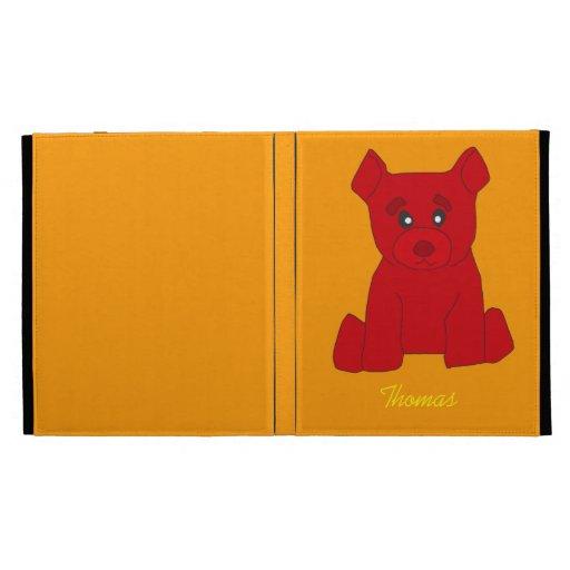 Plantilla roja del caso del iPad del oso